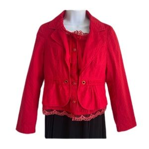 KAMAQI fitted red blazer